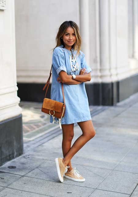 Street , Fashion, Dresses, Outfit, Street, Denim Dresses, Denim, Fashion Week, Shirt Dress