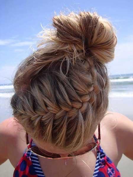 French Braid, Braided Bun, Braids, Messy Bun, Buns, Beach, Summer