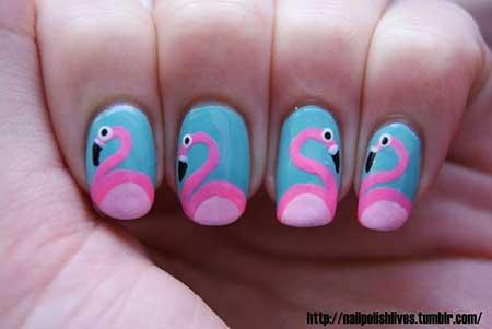 Nails 2017, Nail Art 2017, Nail Design, Art, Flamingo Nails 2017, Easter Nails 2017, Flamingos, Nail Idea, Manicures