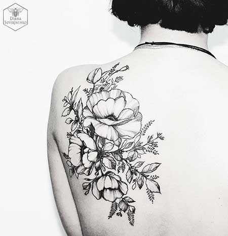 Black Tattoos Flower Shoulder Black