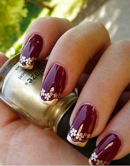 Nail Design, Nail Art 2017, Gold Nail, Gold Flowers, Pretty Nail, - 28 Burgundy Nails With Gold Design