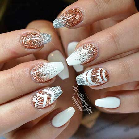 30 acrylic nail designs for winter styles 2017 11 white and rose gold nails nail design prinsesfo Choice Image