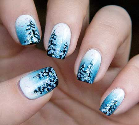 30 acrylic nail designs for winter styles 2017 12 winter landscape nail art prinsesfo Choice Image