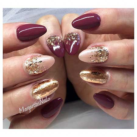 13- Nail Designs Almond Shape - 28 Burgundy Nails With Gold Design