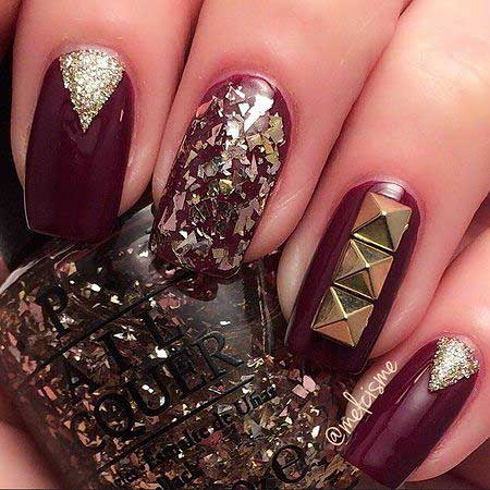 21 burgundy nails with gold glitter 13 nail art bling prinsesfo Image collections