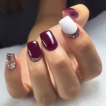 16- Nail Art - 21 Burgundy Nails With Gold Glitter