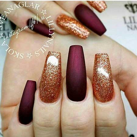 21 burgundy nails with gold glitter 17 burgundy and gold nails nail design prinsesfo Choice Image