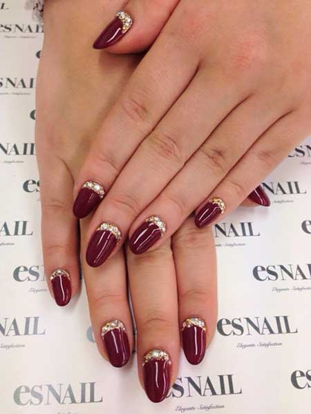 28 burgundy nails with gold design 26 wedding nail art prinsesfo Image collections
