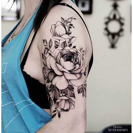 Black Tattoos Flower Shoulder Black - 27
