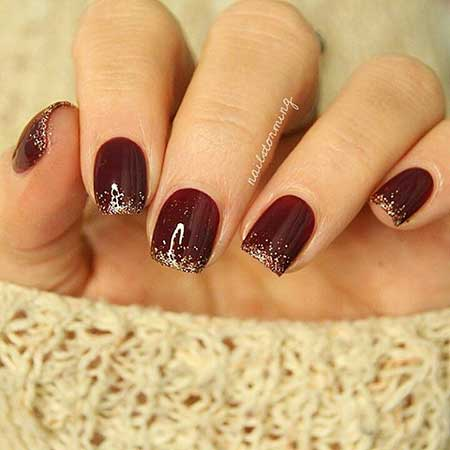 27- Burgundy Nails with Gold - 28 Burgundy Nails With Gold Design