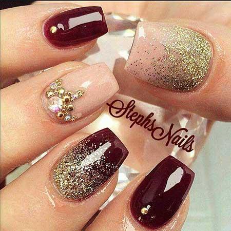 Nail Design, Nail Art 2017, Glitter Nail, Glitter, Christmas, Polish, - 28 Burgundy Nails With Gold Design