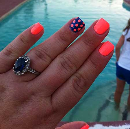 Summer Nails Summer Simple Coral 2017 - 32