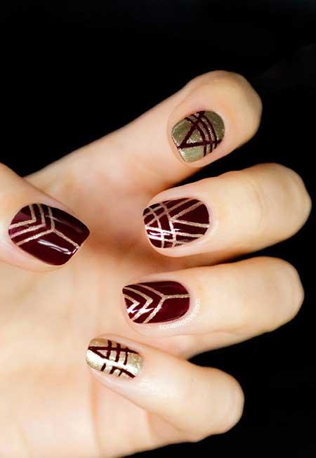 Nail Design, Tribal Nail, Nail Art 2017, Gold Nail, Aztec Nail, Art, Fishnet Nail, Nail Idea