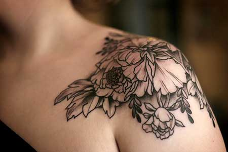 Black Tattoos Flower Shoulder Black - 6