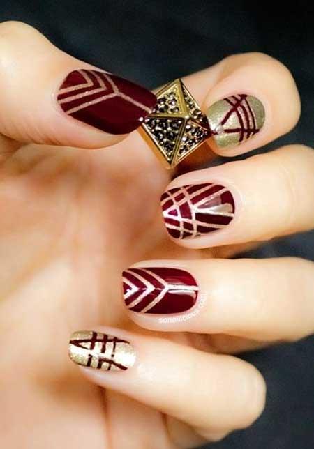 Nail Design, Nail Art 2017, Tribal Nail, Art, Gold Nail, Nail Idea, Fishnet Nail, Fall, Aztec Nail