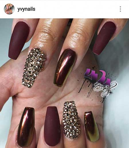 28 burgundy nails with gold design 8 gold and burgundy nails nail design prinsesfo Choice Image