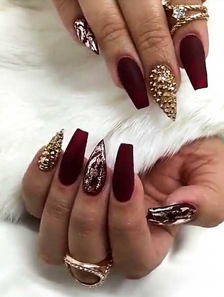 Nail Design, Matte Nail, Nail Art 2017, Accent Nail, Nail Idea, - 18 Burgundy And Gold Matte Nails - Styles 2017