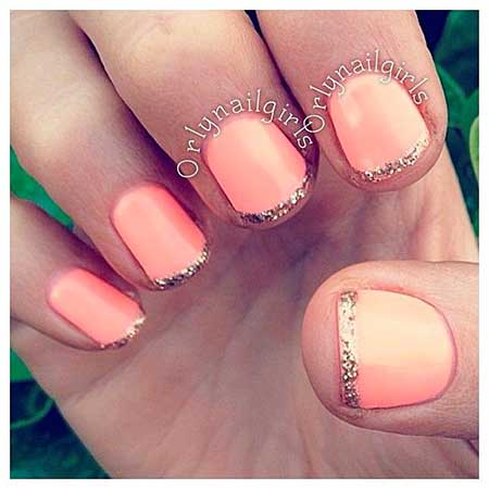 8- Simple French Nail Art - Amazing Summer Season Coral Nail Design Trends