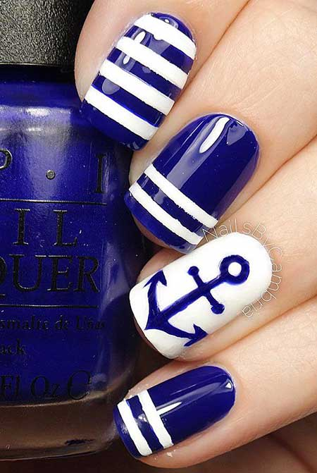 Nails 2017, Nail Design, Nail Art 2017 , Nautical Nail, Blue Nails 2017, Anchor Nail, Summer Nails 2017, Nail Idea, Art