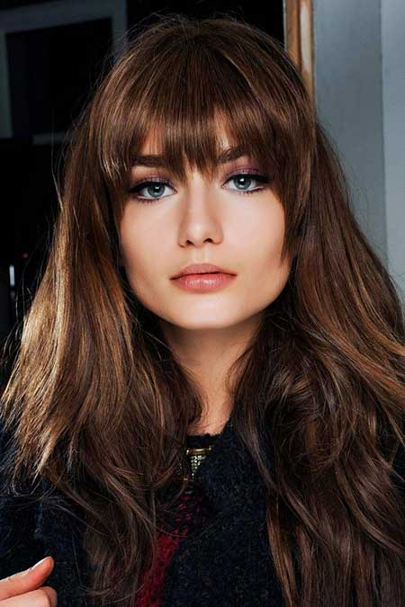 Long Hairstyles For Brunettes With Straight Bangs Styles 2018