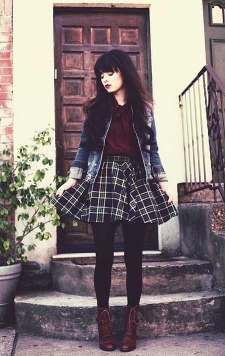 Fashion, Outfit, Plaid Skirt, Plaid, Street, Dresses, Skirts