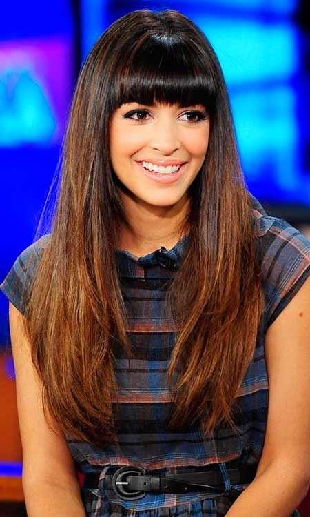 Long Hairstyles for Brunettes with Straight Bangs - Styles 2018