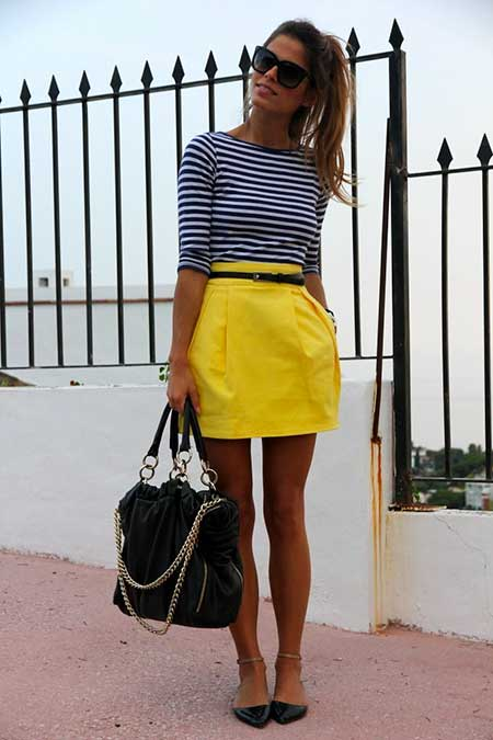 Yellow Skirt, Fashion, Street , Outfit, Skirts, Striped Tops, Summer Outfit, Yellow, Bright Skirt