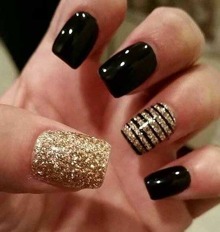 Nails 2017, Nail Design, Black Nail, Nail Art 2017, Gold Nail, Glitter Nail, Glitte