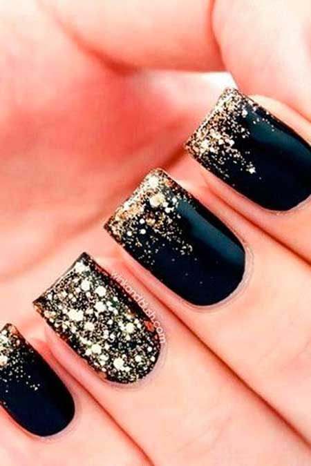 Nails 2017, Nail Design, Glitter Nail, Gold Nail, Nail Idea, Nail Art 2017, Black Nail, Glitter, New Year'