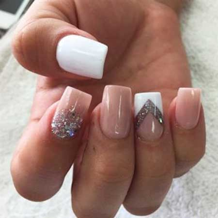 White Ring Finger Nail Art Design Styles 2018