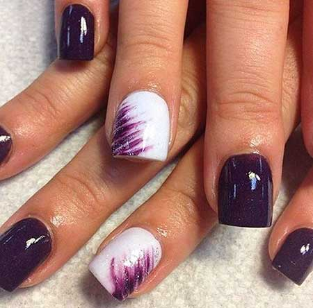 Nails 2017, Nail Design, Nail Art 2017 , Nail Idea, Purple Nail, - White Ring Finger Nail Art Design - Styles 2018