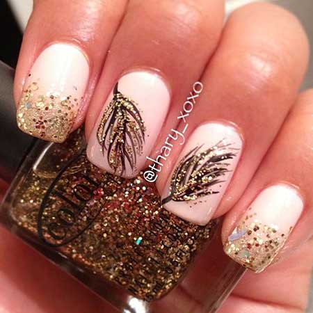 Nails 2017, Nail Design, Nail Art 2017, Feather Nail, Nail Idea, Pretty Nail, Gold Feathers, Glitter Feather, Glitter