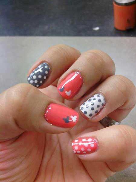 Nails 2017, Nail Art 2017 , Nail Design, Disney Nail, Art, Mouse Nail, Christmas Nails 2017, Dots, Flower Nail, July Nails 2017