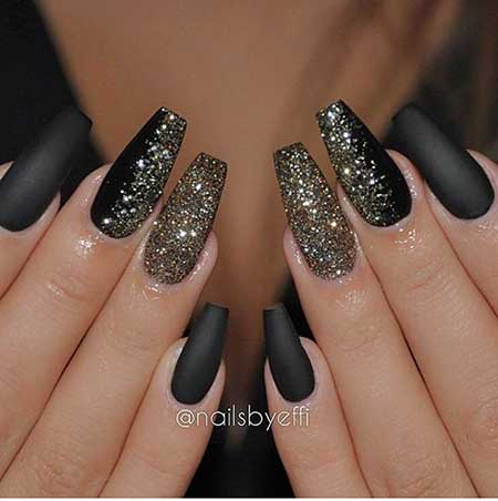 Nails 2017, Nail Design, Nail Idea, Nail Art 2017, Glitter Nail, Black Nail, Glitter, Coffi