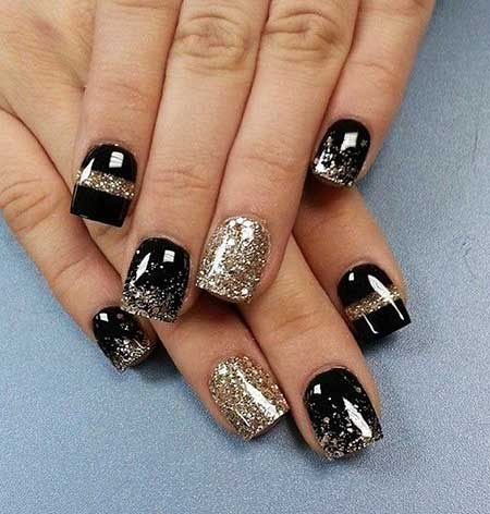 Nails 2017, Silver Nail, Nail Design, Black Nail, Nail Art 2017, Nail Idea, Glitter Nail,
