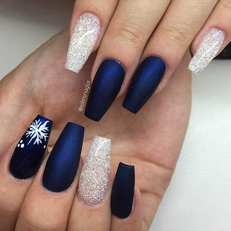 Nail Design, Nail Art 2017, Coffin, Nail Idea, Blue, Matte Nail - 30 Acrylic Nail Designs For Winter - Styles 2018
