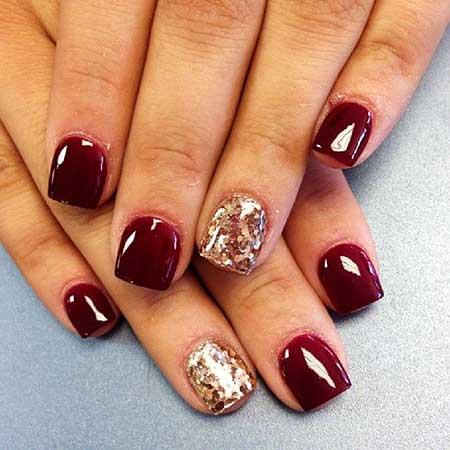 Nail Design, Nail Art 2017, Christmas, Holiday, Nail Idea, Nailart, Glitter, Burgundy Nail