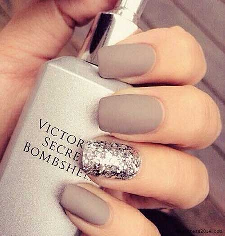 Matte Nail, Nail Design, Accent Nail, Nail Idea, Nail Art 2017, Fall, Matt, Glitter Nail