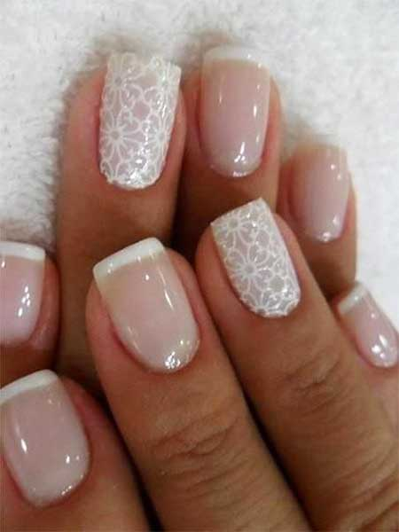 French Manicure, Wedding, Lace Nail, Nail Design, Nail Art 2017, French, Manicures, Wedding, Nail Idea