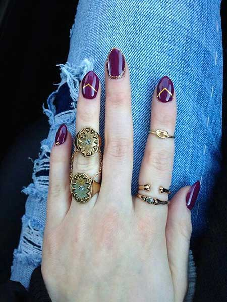 Nail Art 2017, Nail Design, Nailart, Rings, Art, Gold Nail, Fall, Purple Nail