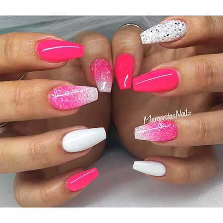Nail Design, Nail Art 2017, Pink, Pink, Margaritasnailz, Glitter, Coffin, Stiletto, Nailart