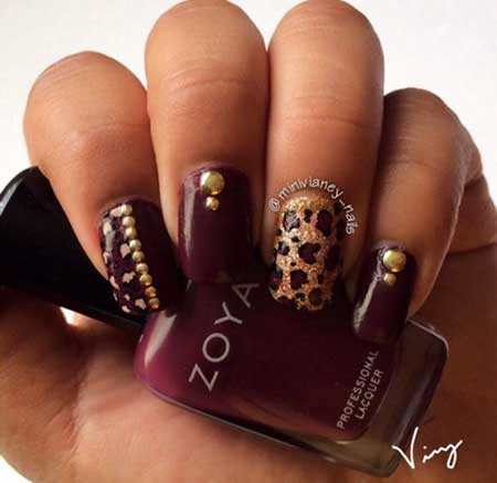28 Burgundy Nails With Gold Design