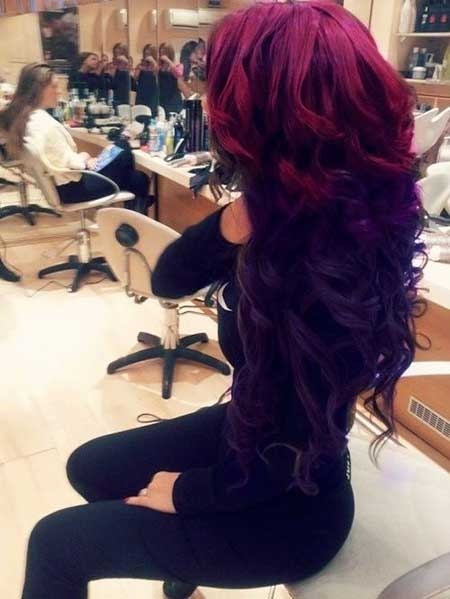 , Idea, Purple, Curls, Ombre