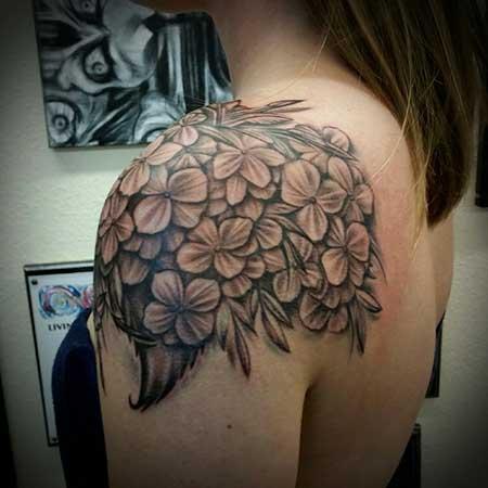 Tattoos Flower Shoulder Black - 21