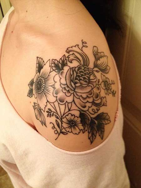 Black Tattoos Flower Shoulder Black - 22