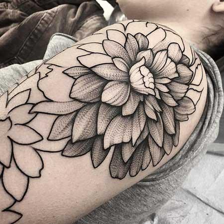 Black Tattoos Flower Shoulder Black 2017 - 24