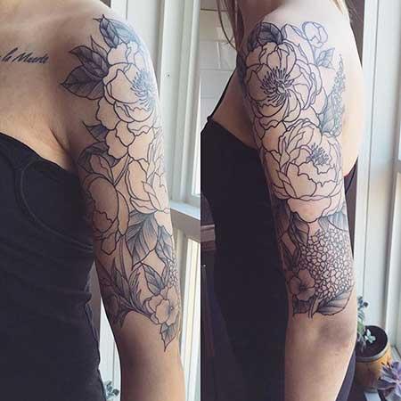 Black Tattoos Flower Shoulder Black - 25