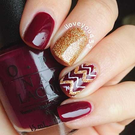 Nail Design, Christmas, Nail Art 2017, Holiday, Nail Idea, Polish, Gold Nail