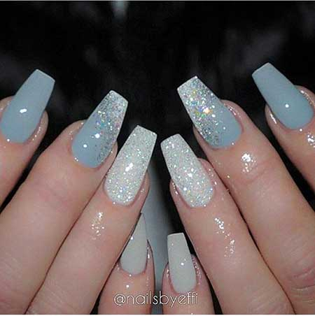 Nail Design, Nail Art 2017, Glitter Nail, Nail Idea, Acrylic, Coffin, Wedding