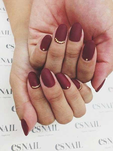 Nail Design, Matte Nail, Nail Art 2017, Nail Idea, Studded Nail, Maroon, Fall, Nailart